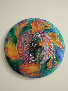 Hand-painted glass clock FISH