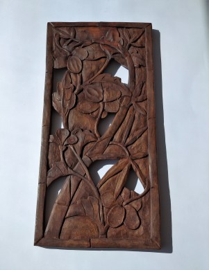 WOOD CARVING PANEL INTERWAYED ORCHIDS