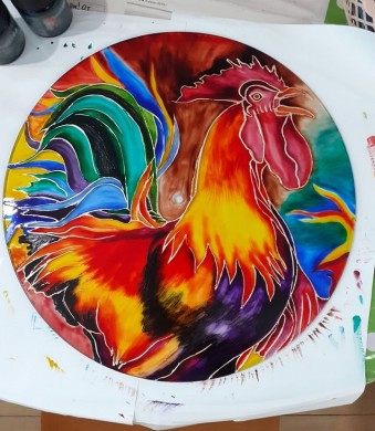 HAND-PAINTED GLASS CLOCK ROOSTER