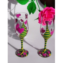 party glasses hand painted artkompass hearts yellow green