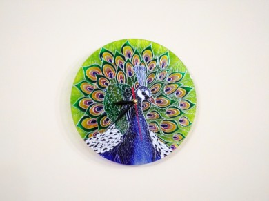 HAND-PAINTED Peacock GLASS CLOCK