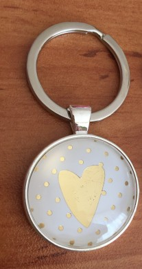 White metal accessory for bag / keychain Heart